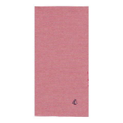 Petit Bateau Red Milleraies-Striped Long Scarf