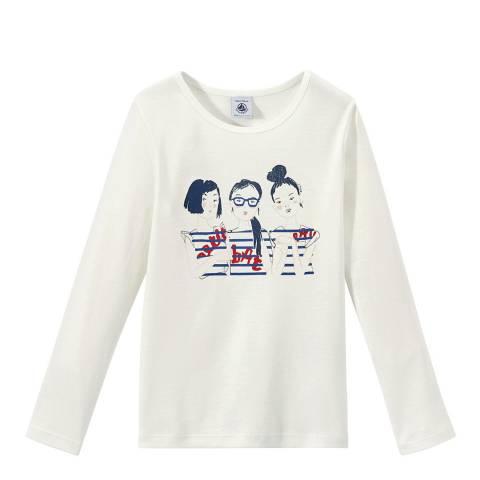 Petit Bateau Cream Long-Sleeved Screen Print T-Shirt