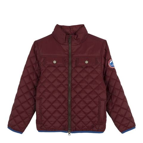 Petit Bateau Red Quilted Nylon Puffy Jacket