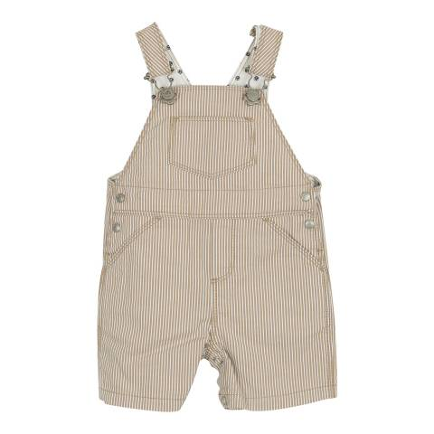 Petit Bateau Baby Boy's Grey Striped Short Dungarees