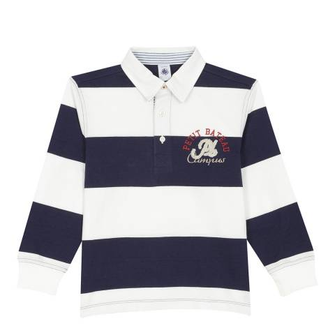 Petit Bateau Navy/Cream Striped Rugby Shirt