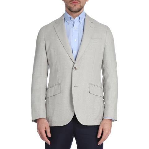 Hackett London Sand Summer Basketweave Wool Jacket
