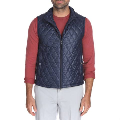 Hackett London Blue Check Quilted Gilet