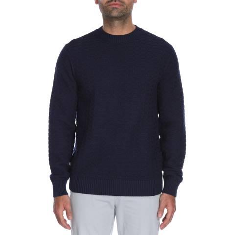 Hackett London Navy Basket Stitch Silk/Cashmere Jumper