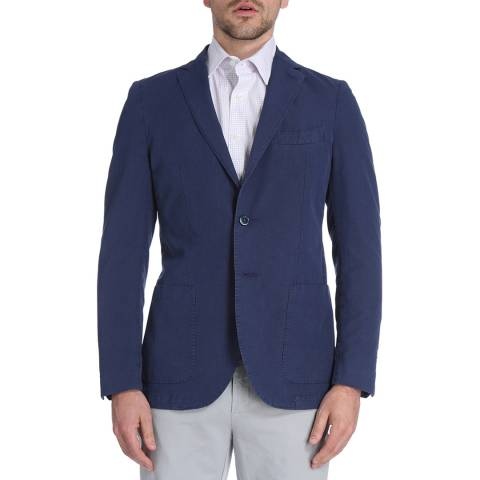Hackett London Blue Micro Houndstooth Cotton Blend Jacket