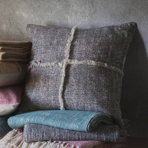 Gallery Grey Patna Fringe Cushion 45x45cm