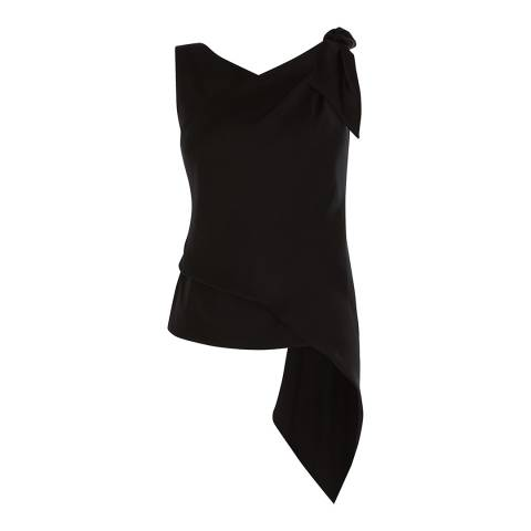Karen Millen Black Knotted Drape Top