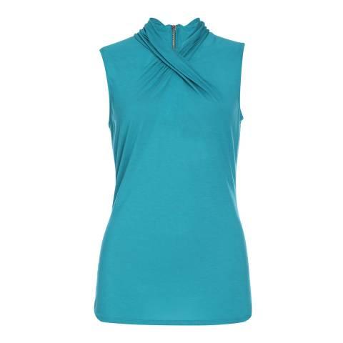Karen Millen Turquoise Knotted Neckline Sleeveless Top