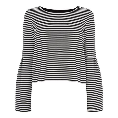Karen Millen Black/White Flared Sleeve Top