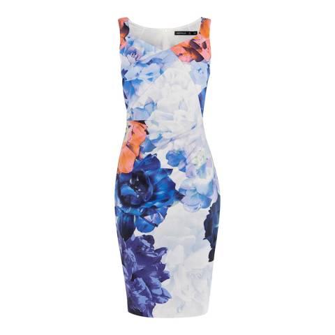 Karen Millen Blue Floral Draped Pencil Dress