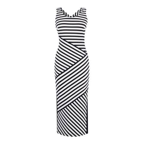 Karen Millen Black/White Narrow Stripe Jersey Midi Dress