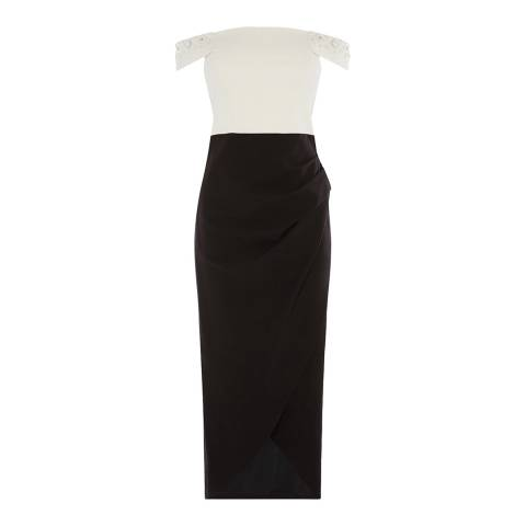 Karen Millen Black/White Beaded Bardot Maxi Dress