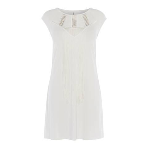 Karen Millen Ivory Tunic Fringe T-Shirt Dress