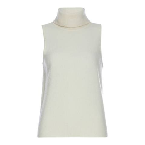 Karen Millen Cream Sleeveless Roll Neck Knitted Top