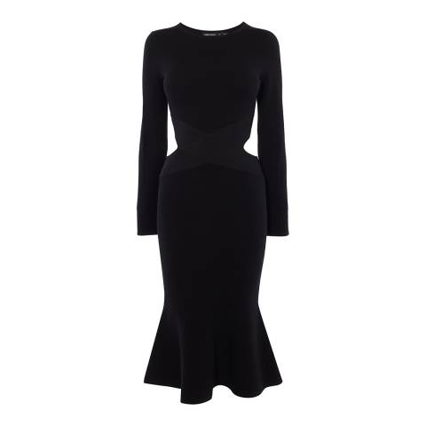 Karen Millen Black Cut Out Flared Knit Dress