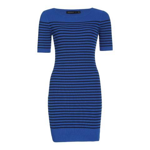 Karen Millen Blue Tonal Stripe Bodycon Dress