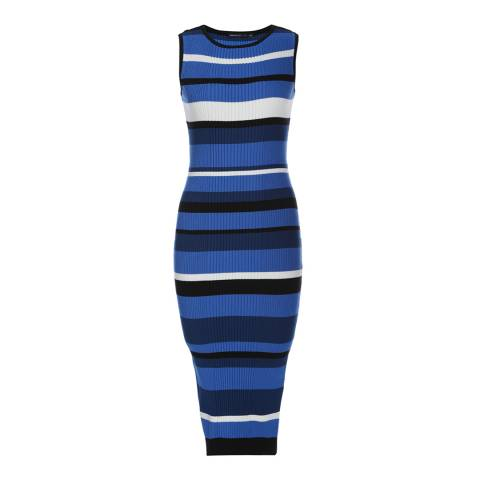 Karen Millen Blue/White Stripe Bodycon Midi Dress