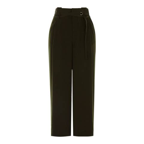 Karen Millen Khaki Soft Belted Trousers