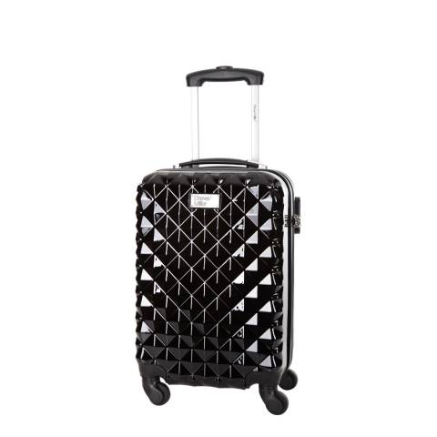 Steve Miller Black 4 Wheel Rigid Heart Cabin Suitcase 46 cm