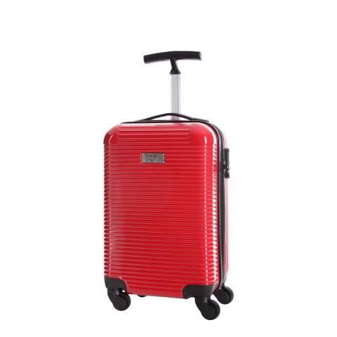 Steve Miller Red 4 Wheel Rigid Journey Cabin Suitcase 45cm