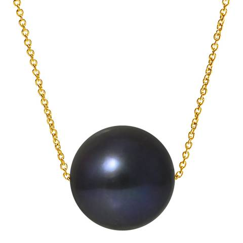 Ateliers Saint Germain Black Tahitian Style Yellow Gold Freshwater Pearl Necklace
