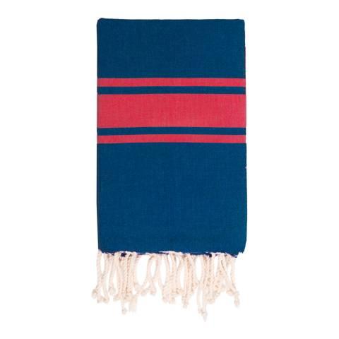 Febronie St Tropez Hammam Towel, Denim/Red