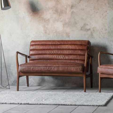 Gallery Datsun 2 Seater Sofa, Vintage Brown Leather