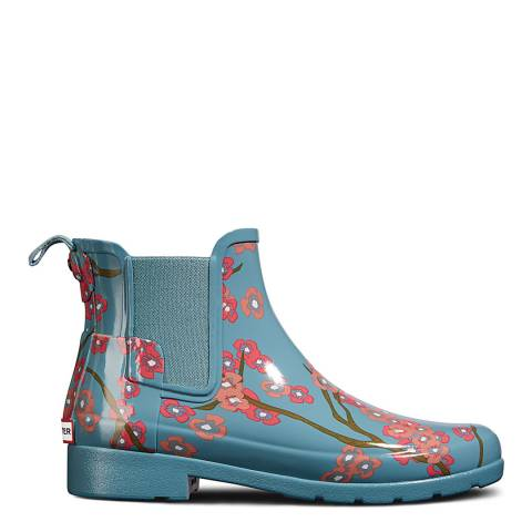 Hunter Womens' Blue Blossom Print Refined Chelsea Boots