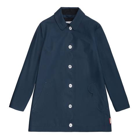Hunter Women's Navy Original Refined Perforated A-Line Coat