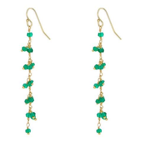 Liv Oliver Green Onyx Fringe Earrings