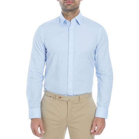 Hackett London Blue/White Flower Pattern Slim Cotton Shirt
