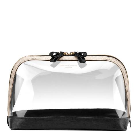 Aspinal of London Clear/Black Large Leather/PU Hepburn Cosmetic Case