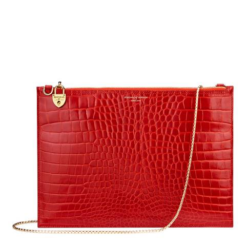 Aspinal of London Red Croc Print Leather Soho Pouch Bag