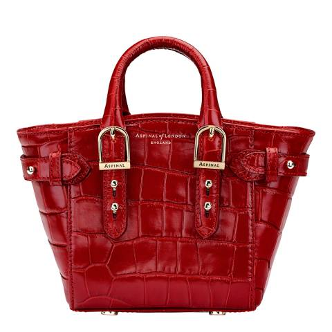 Aspinal of London Red Croc Print Leather Marylebone Micro Bag