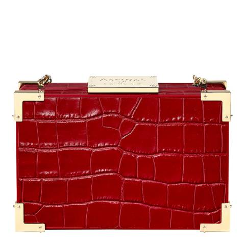 Aspinal of London Red Croc Print Leather New Box Clutch Bag