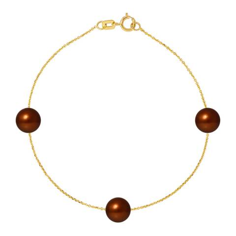 Just Pearl Golden Chocolate Freshwater Pearl Bracelet