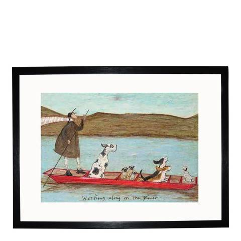 Paragon Prints Woofing Along on the River Framed Print, 40x30cm