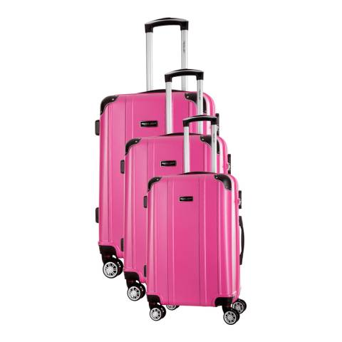 Travel One Fuchsia Bazzano Set Of Three 8 Wheeled Suitcases 46/56/66cm