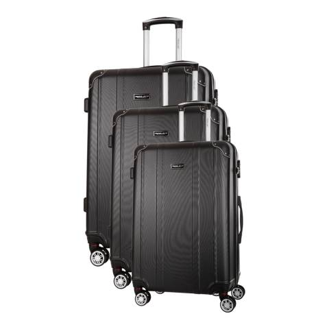 Travel One Black Bazzano Set Of Three 8 Wheeled Suitcases 46/56/66cm