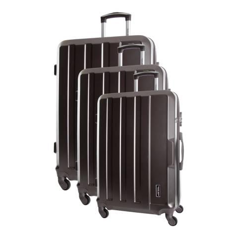 Travel One Charcoal Vilarosa Set Of Three 4 Wheeled Suitcases 46/56/66cm