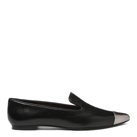 French Sole Black Leather Metallic Toe Cap Penelope Loafers