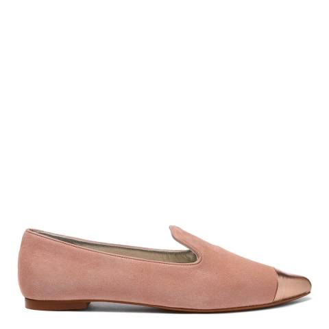 French Sole Pink Suede Metallic Toe Cap Penelope Loafers