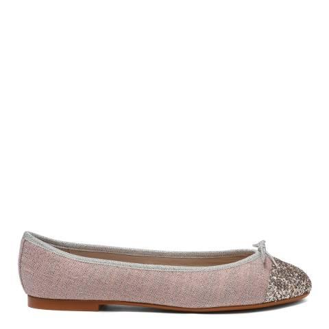 French Sole Pink Linen Glitter Toe Cap Henrietta Flats