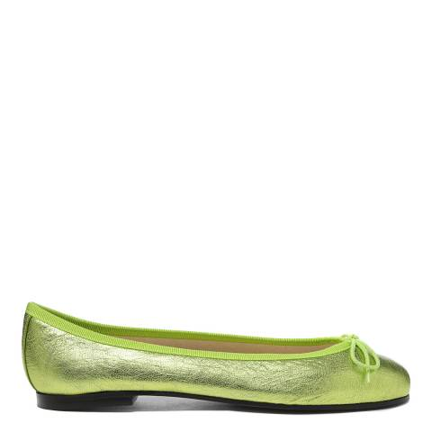 French Sole Green Leather Metallic Henrietta Flats
