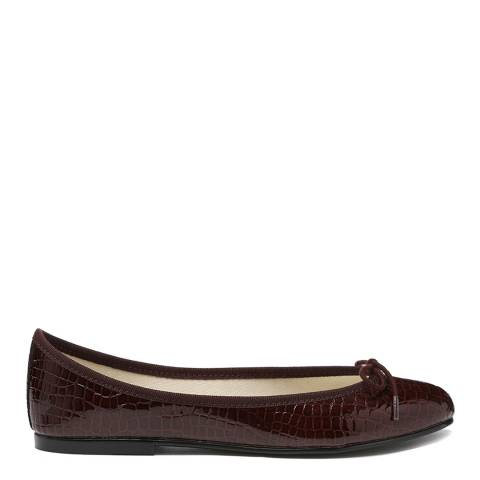 French Sole Brown Patent Leather Reptile India Flats
