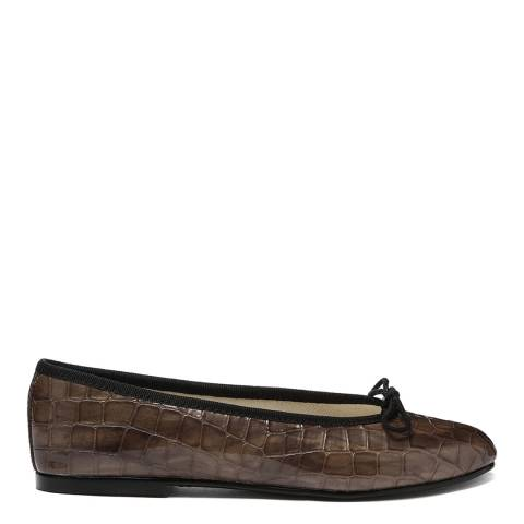French Sole Dark Taupe Patent Reptile Simple Flats