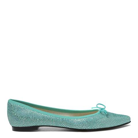 French Sole Mint Suede Foil Penelope Flats