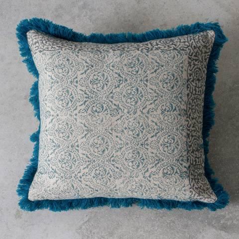 Gallery Teal Nakur Block Printed Cushion 45x45cm