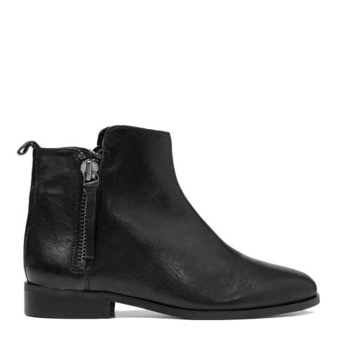 French Sole Black Leather Charlotte Ankle Boots