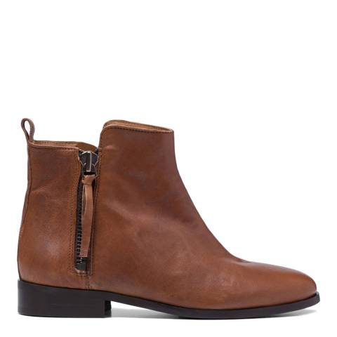 French Sole Tan Leather Charlotte Ankle Boots